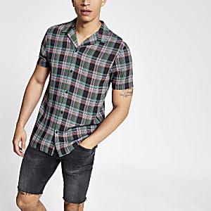Chemise à carreaux fluo noire