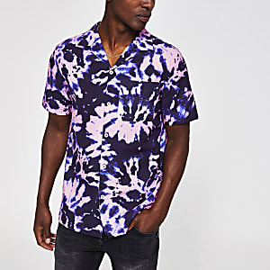 Purple tie dye chest pocket shirt