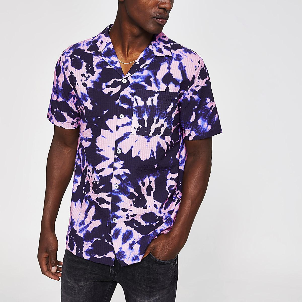 Paars tie-dye overhemd met korte mouwen