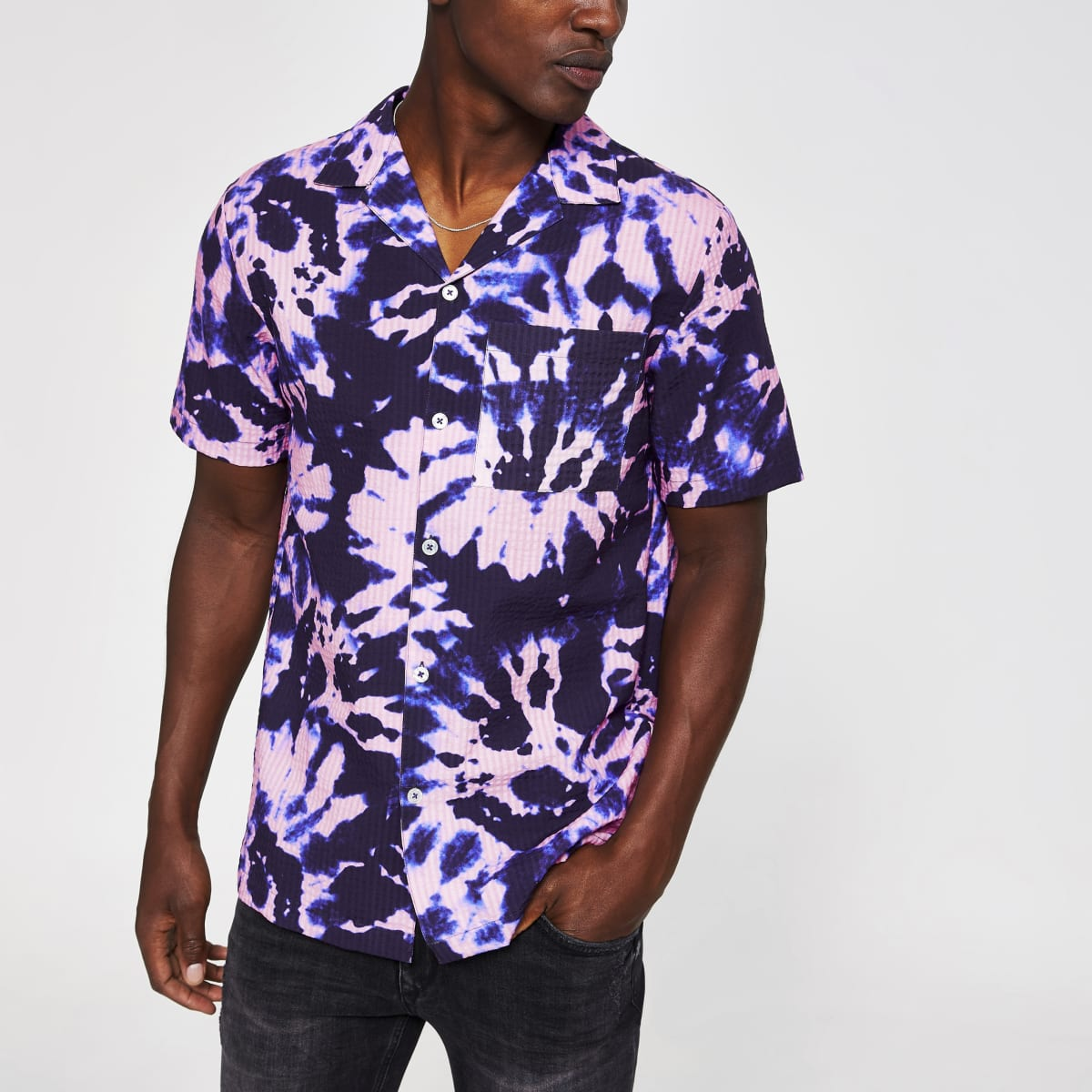 Purple tie dye chest pocket shirt