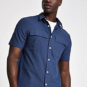 Navy seersucker stripe short sleeve shirt