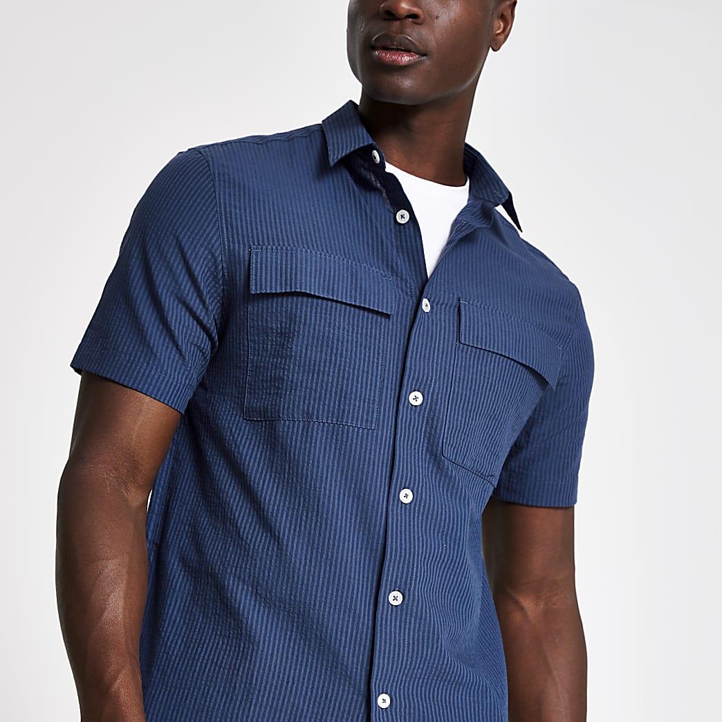Navy seersucker stripe regular fit shirt