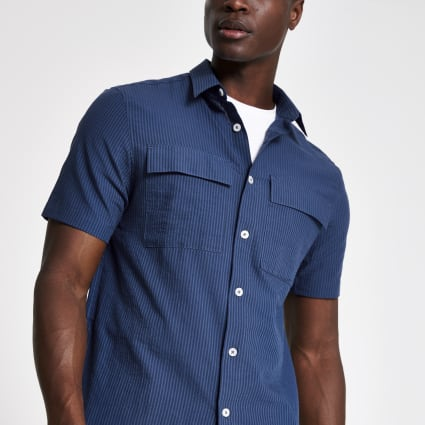 Navy seersucker stripe regular fit shirt