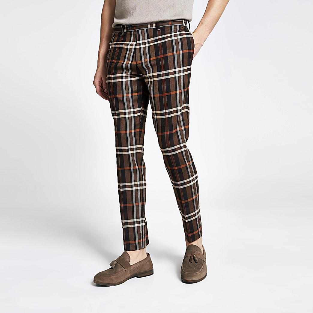 Pantalon court skinny marron à carreaux