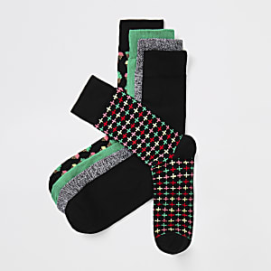 Black printed socks 5 pack