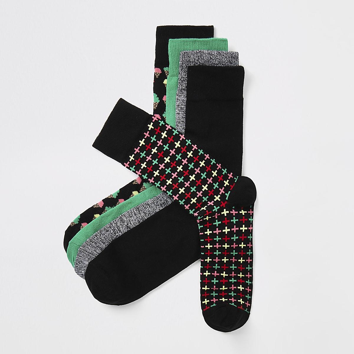 Black printed socks 5 pack