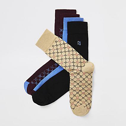 Red RI monogram socks 5 pack