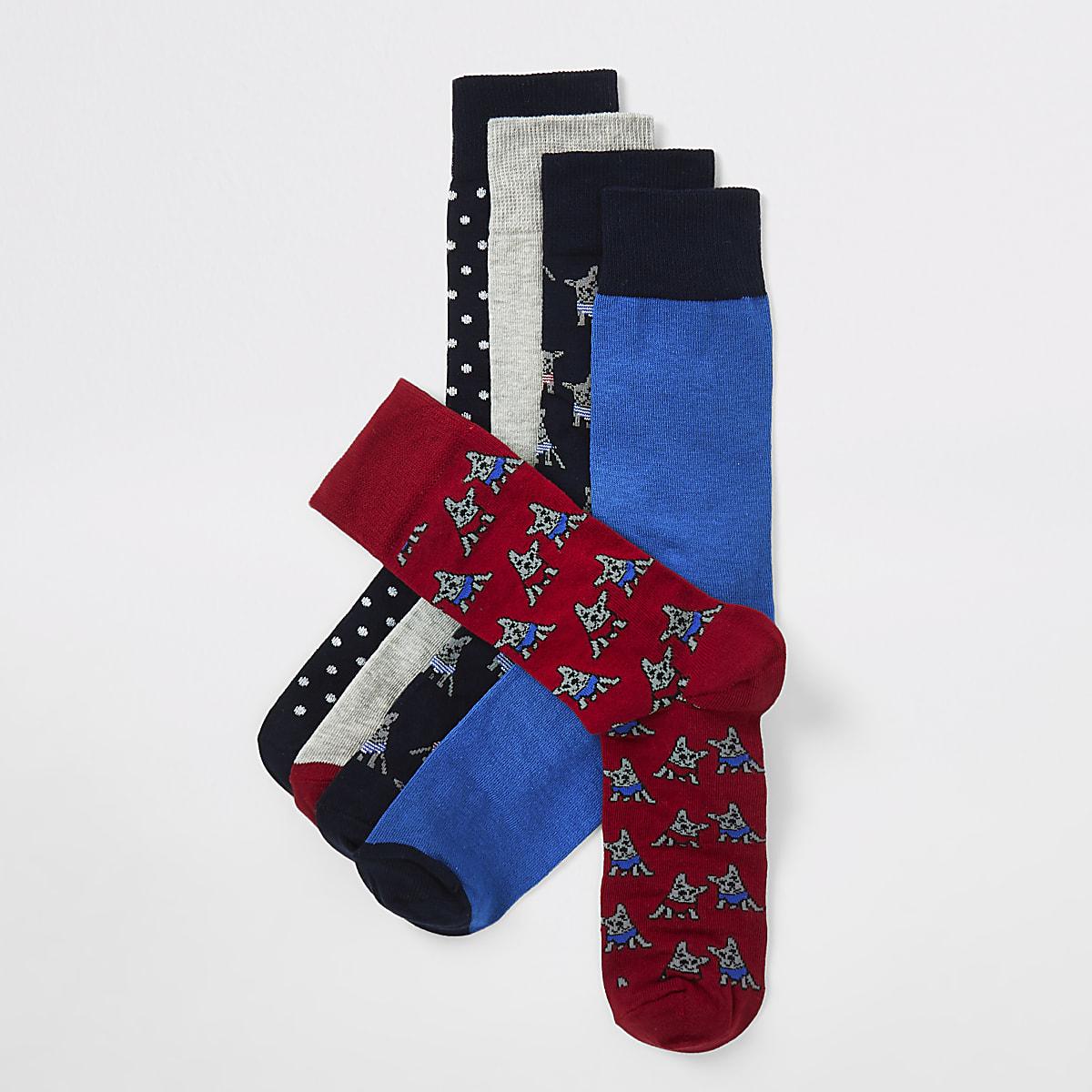 Navy dog print socks 5 pack