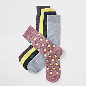 Grey tropical print socks 5 pack