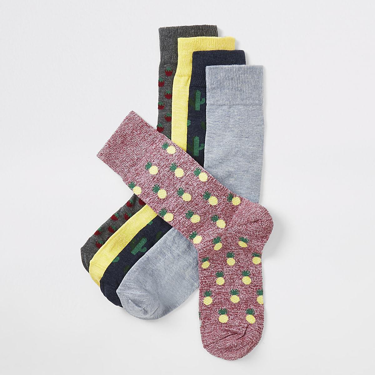 Grey tropical print socks 5 pack