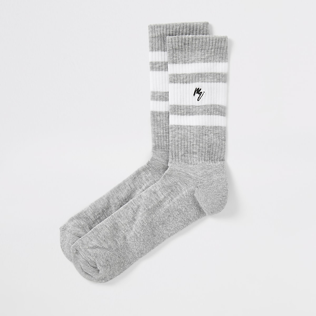 Grey Maison Riviera stripe socks