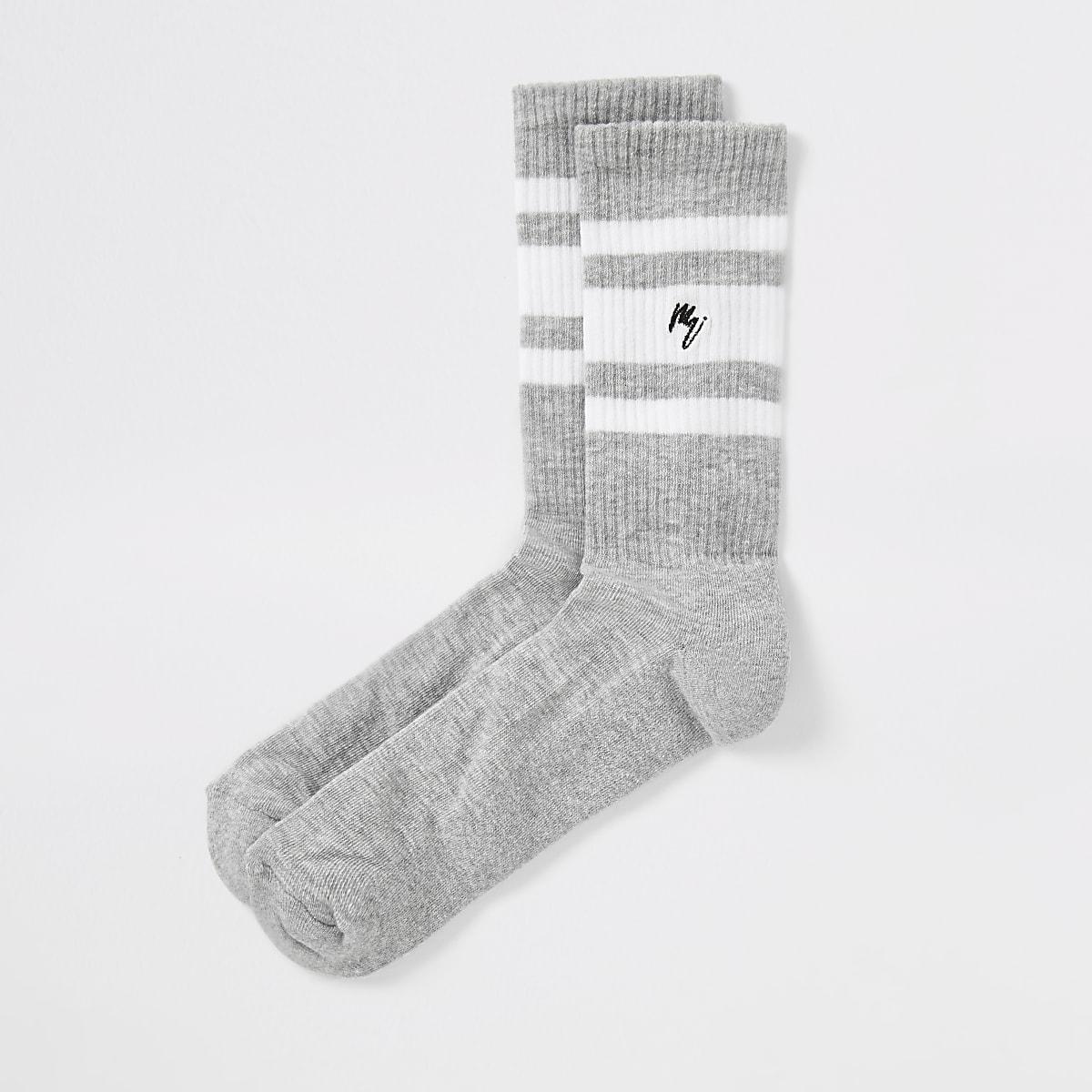 Grey 'Maison Riviera' stripe socks