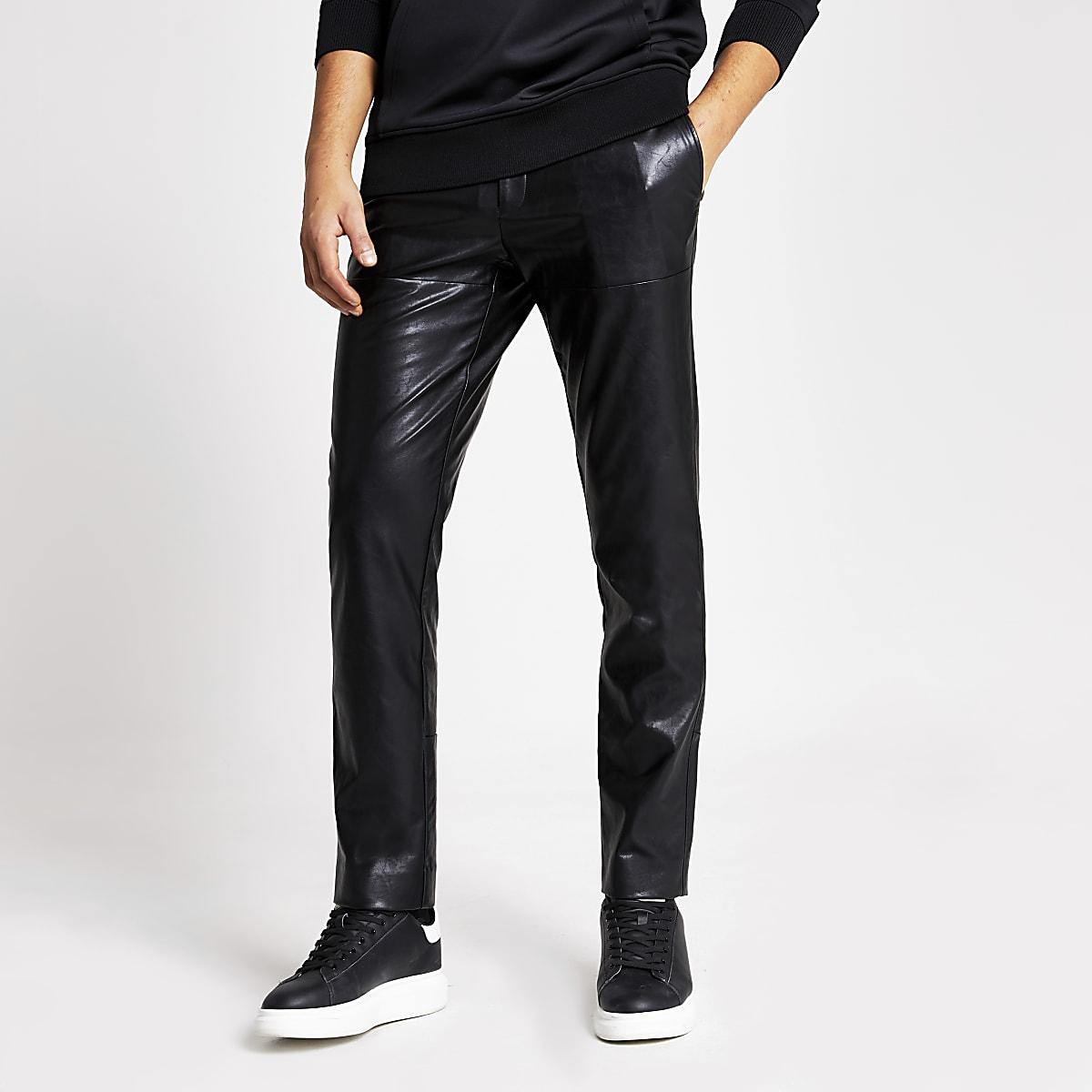 Pantalon skinny imitation cuir noir