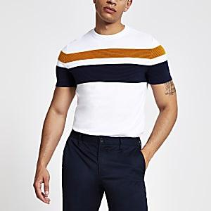 Weißes, gestreiftes Slim Fit T-Shirt