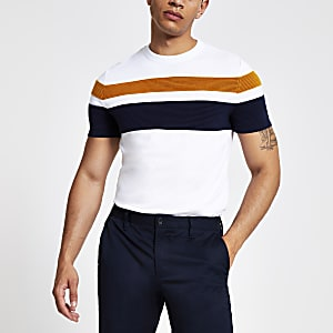 White stripe slim fit knitted T-shirt