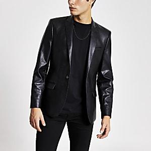 Zwarte skinny-fit blazer van immitatieleer
