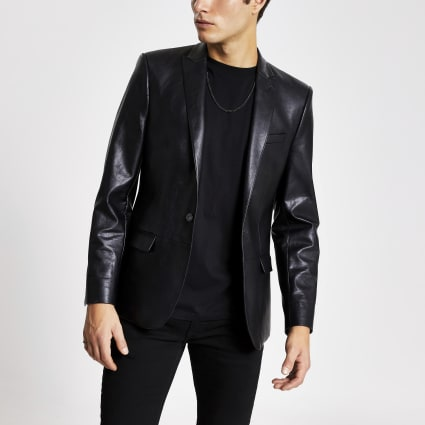 Black faux leather skinny fit blazer