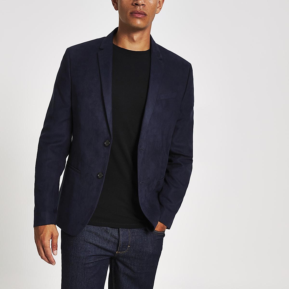 Navy suede skinny fit blazer