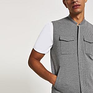 Graues Skinny-Trägerhemd im Utility-Look