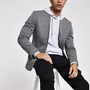 Grey pinstripe collarless skinny fit blazer