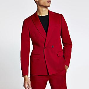Rote, zweireihige Skinny Anzugjacke