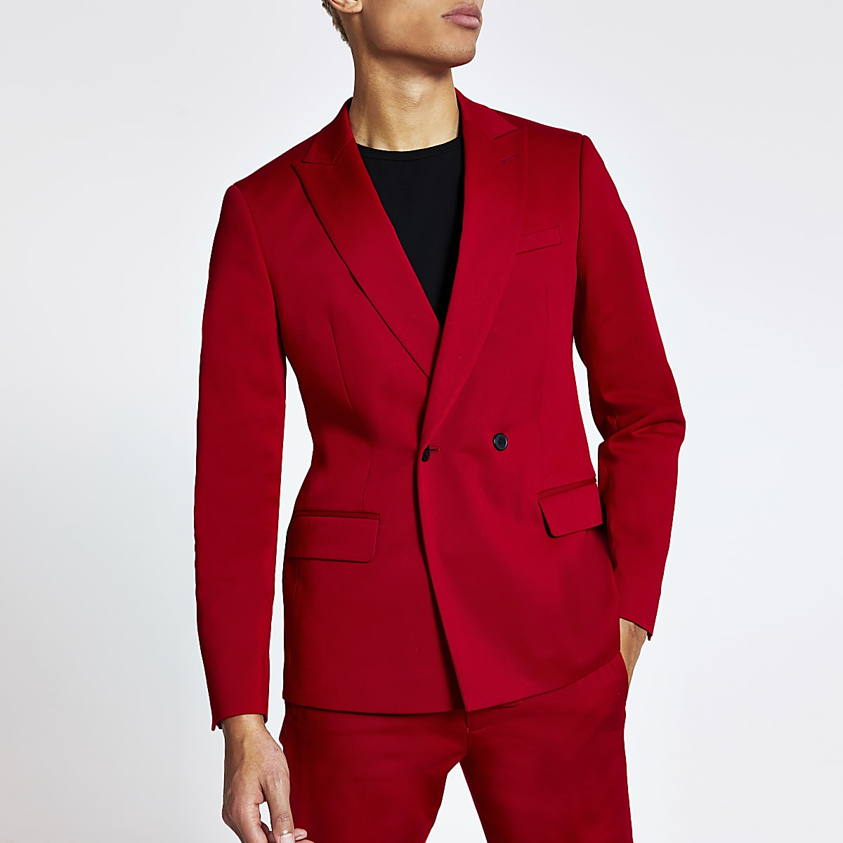 Red double breasted skinny suit jacket