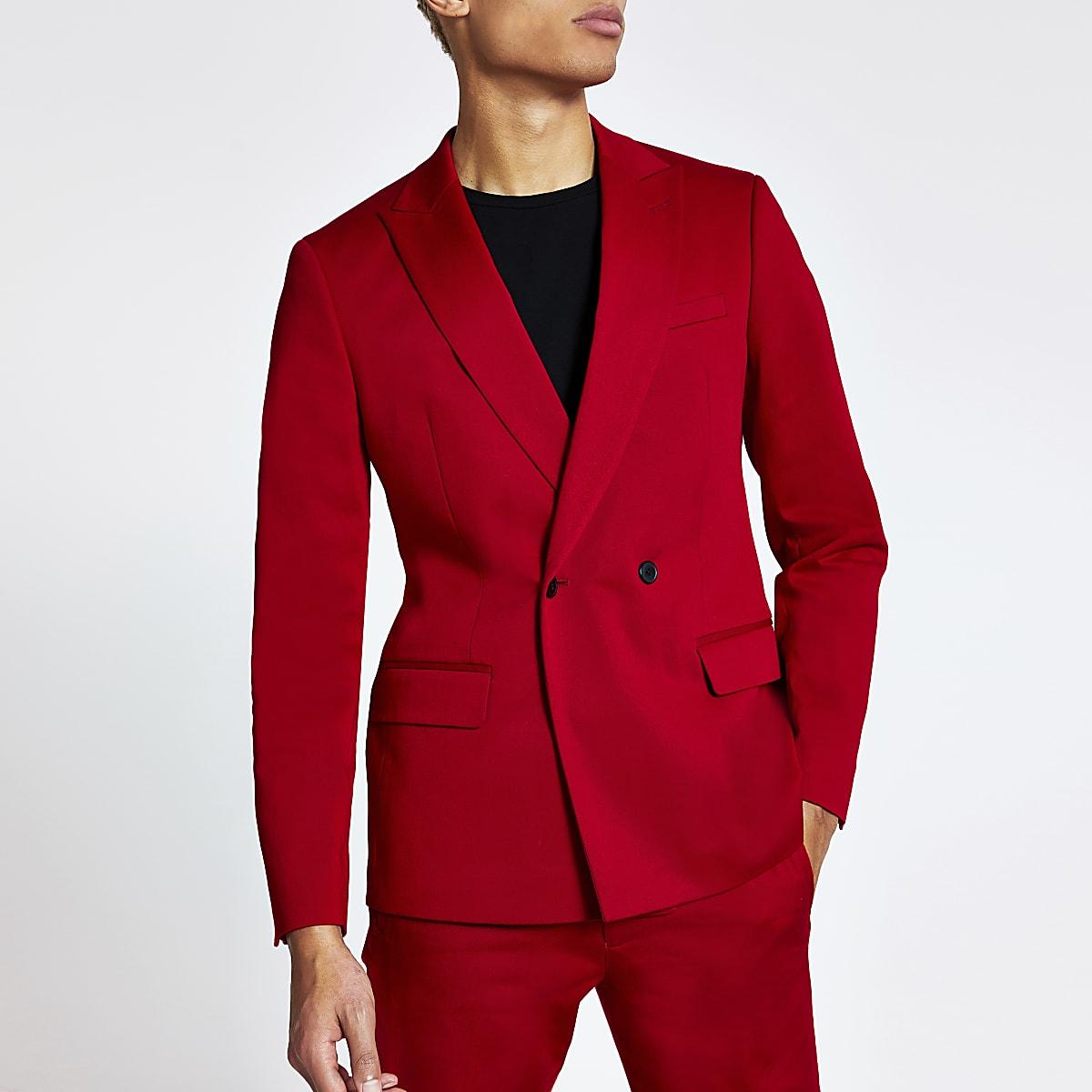 Veste de costume rouge croisée coupe skinny
