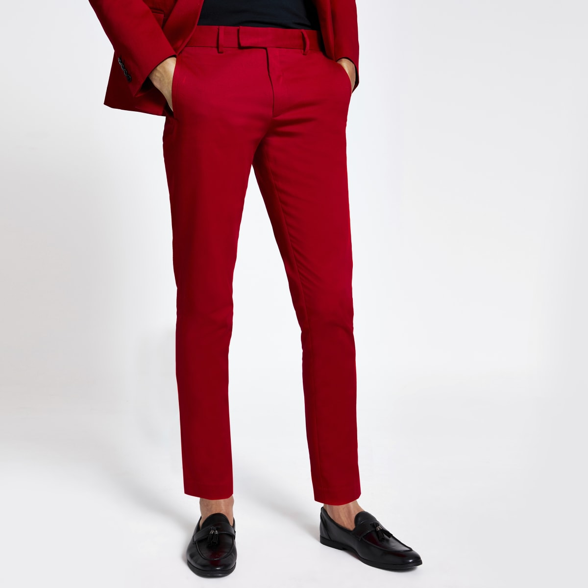 Red stretch skinny suit trousers