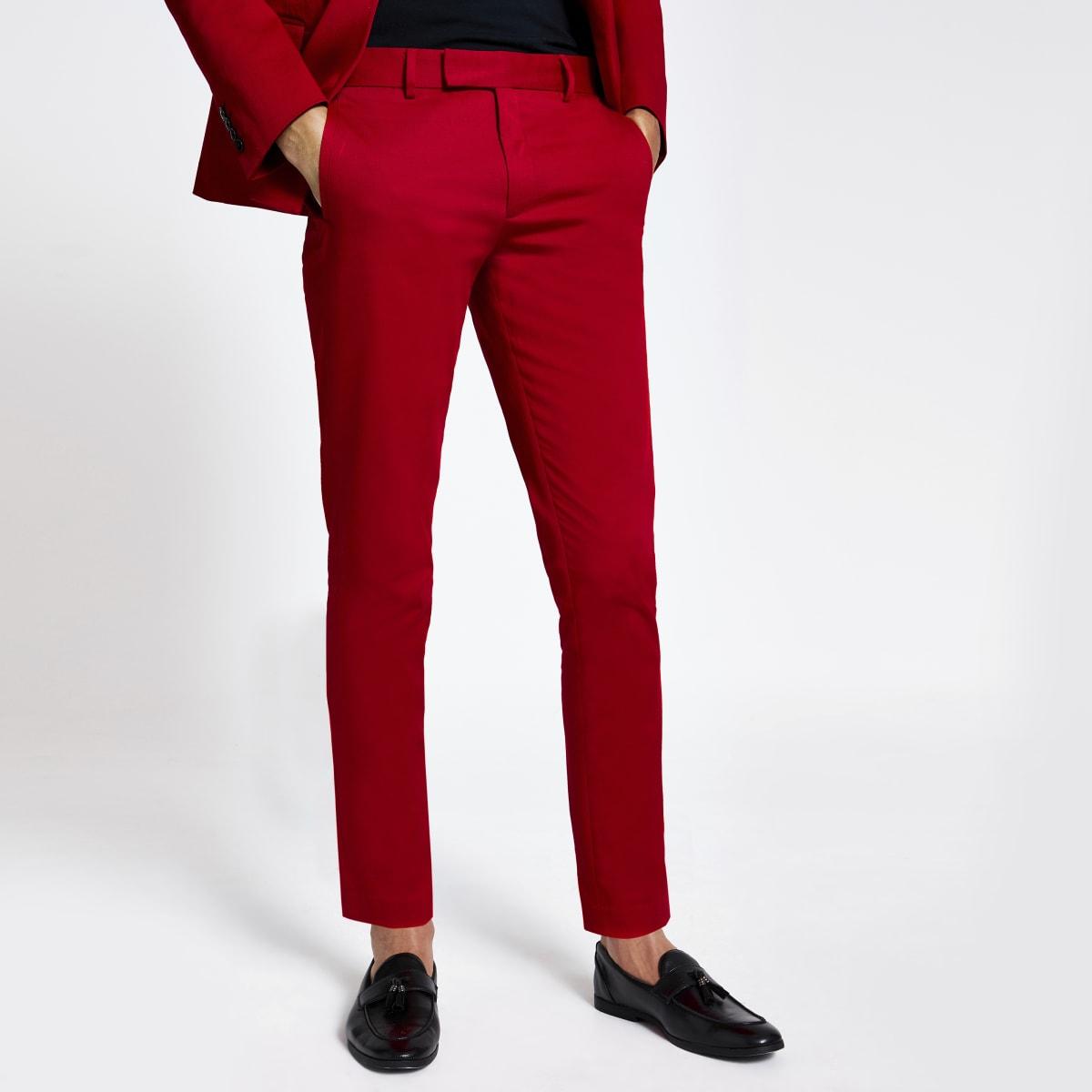 Pantalon de costume skinny stretch rouge