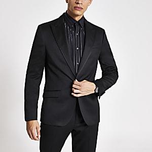 Veste de costume style smoking noire cintrée