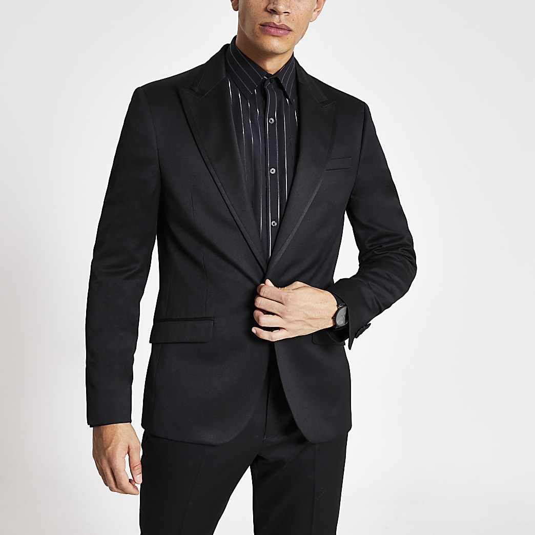 Black skinny fit tux suit jacket
