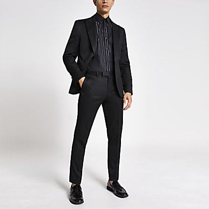 Black skinny fit tux suit trousers