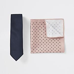 Ensemble cravate bleu marine et mouchoir de poche à pois