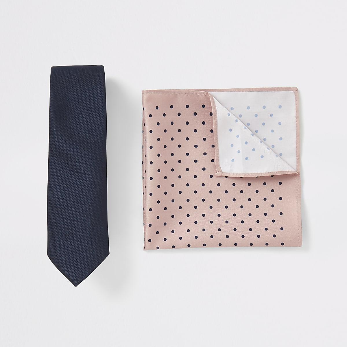 Set met marineblauwe stropdas en zakdoek met stippen