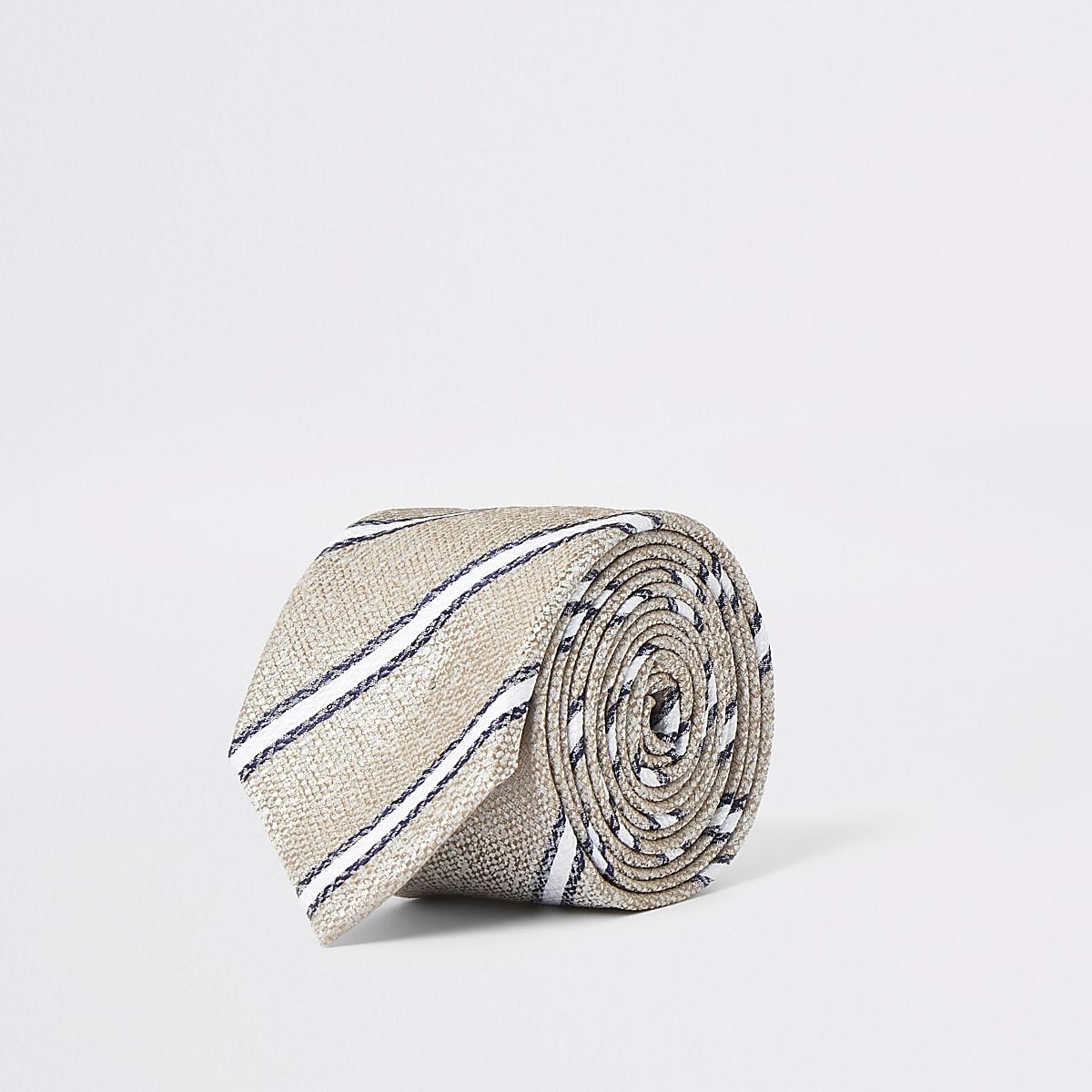 Ecru gestreepte stropdas