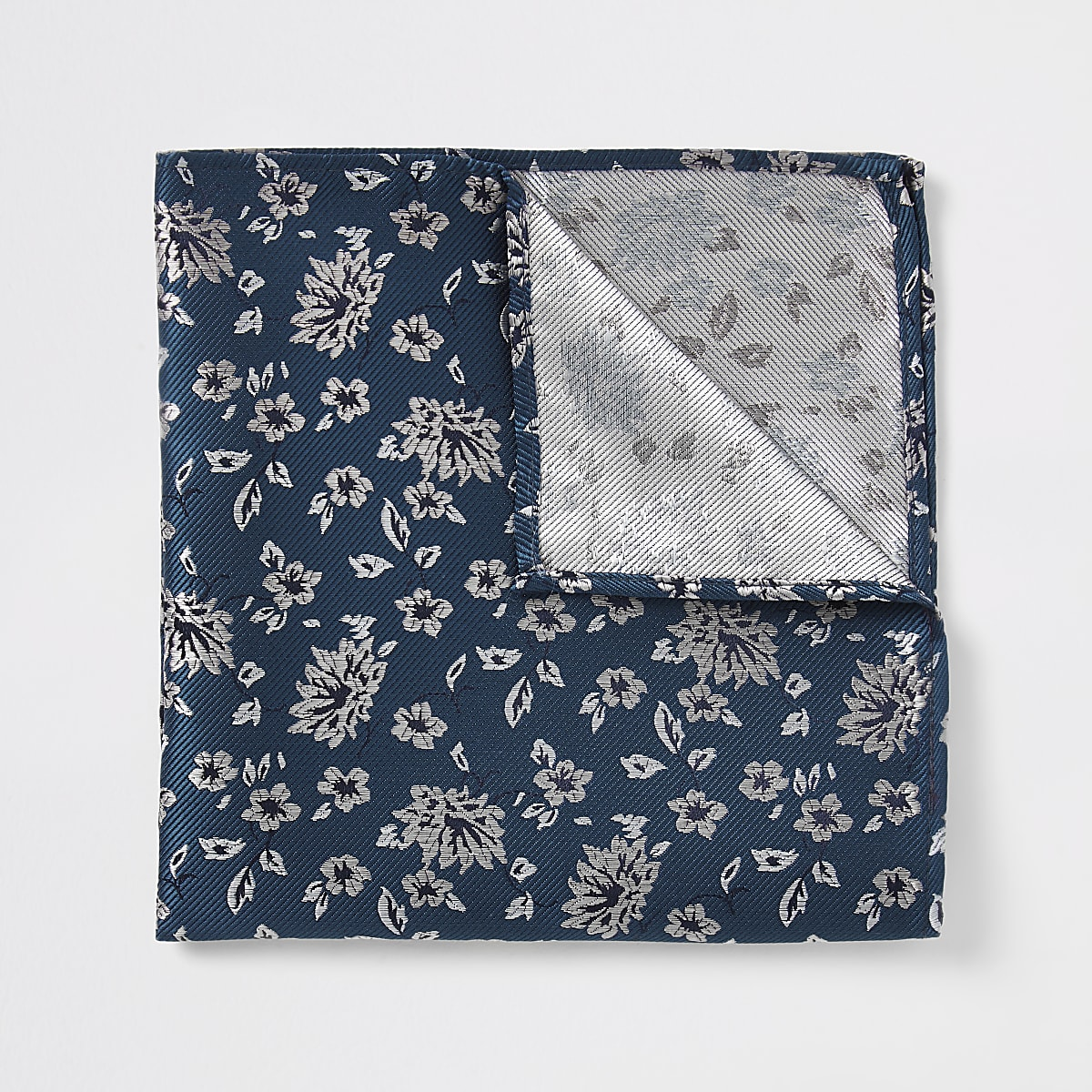 Blauwgroene zakdoek met bloemenprint