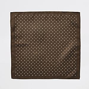 Mouchoir de poche à pois marron