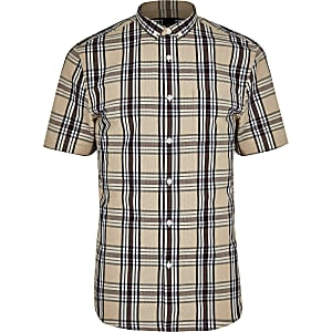 Big and Tall slim fit stone check shirt
