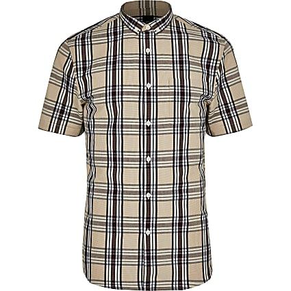 Big and Tall stone short sleeve check shirt