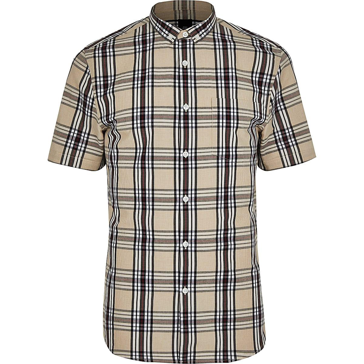Big and Tall slim fit stone check shirt