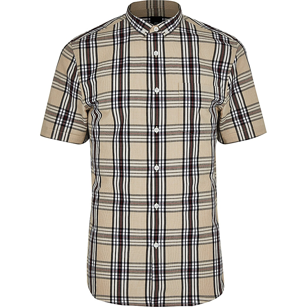 Big and Tall stone slim fit check shirt