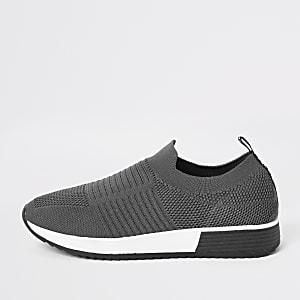 Grijze gebreide sneakers