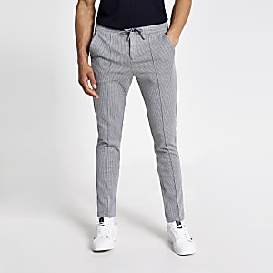 Grey skinny dogtooth smart joggers