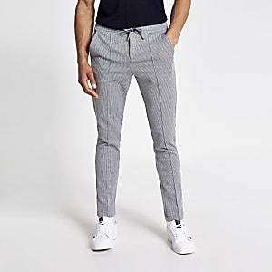 Pantalon de jogging skinny habillé gris clair à pinces