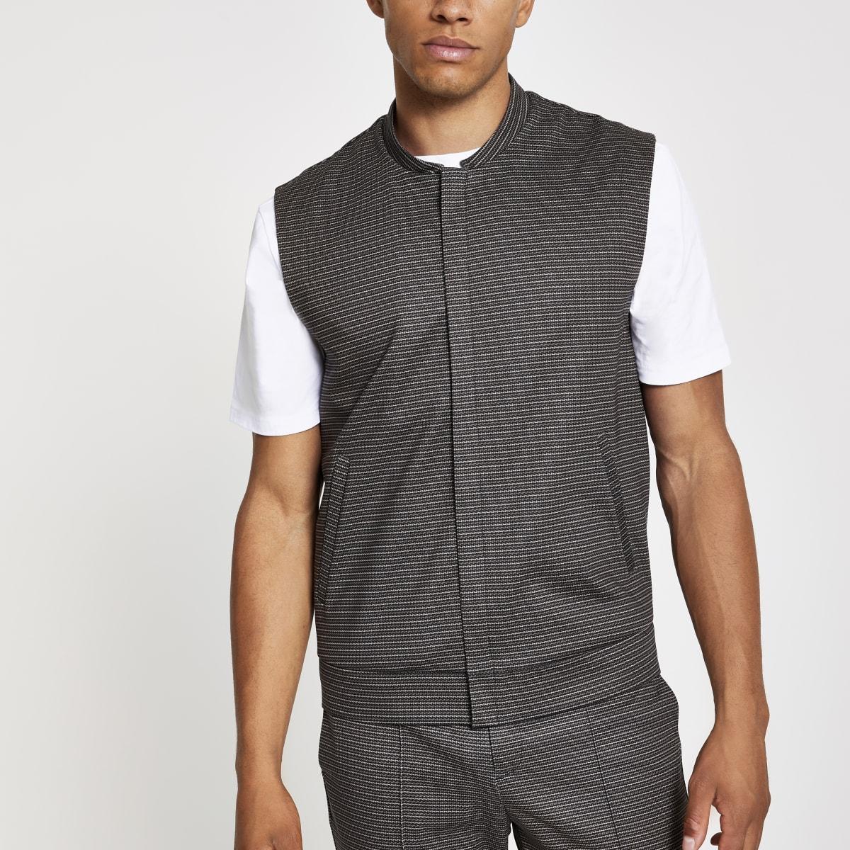 Brown skinny utility vest