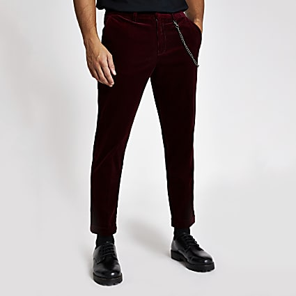 Red chain tapered cord trousers