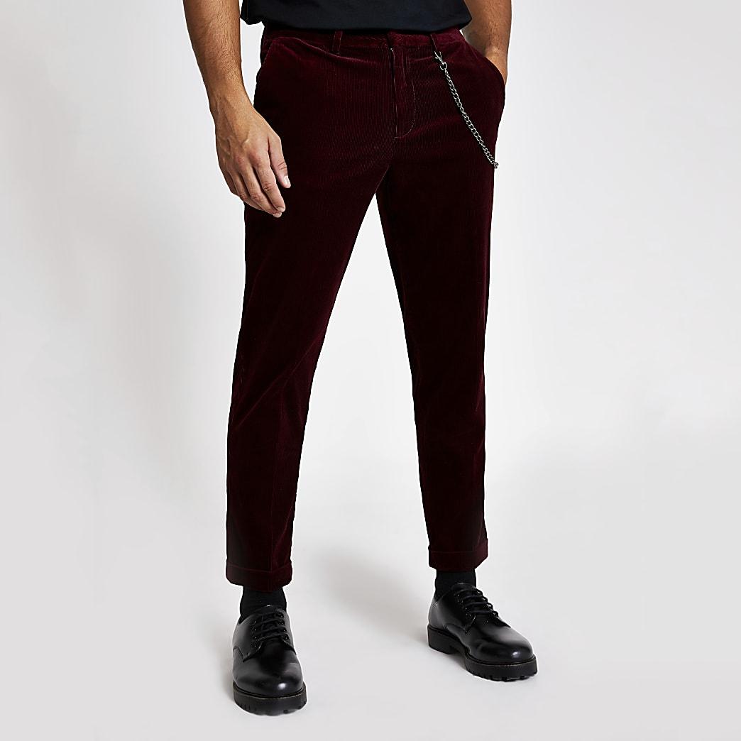 Rode smaltoelopende corduroy broek met ketting