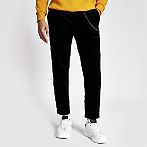 Pantalon cordon fuselé chaîne noir