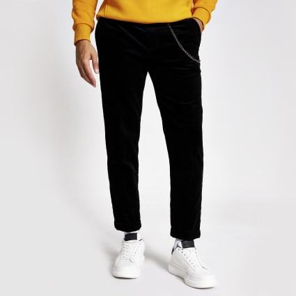 Black chain tapered cord trousers