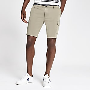 Light brown Sid skinny stretch utility short